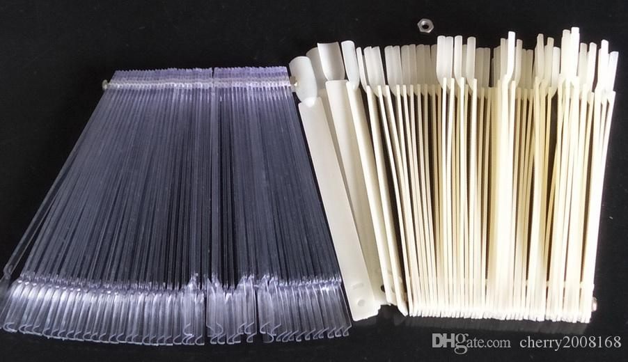 50 stücke natur + 50 stücke klare nail art tipps stick display praxis fanplatte für nail art