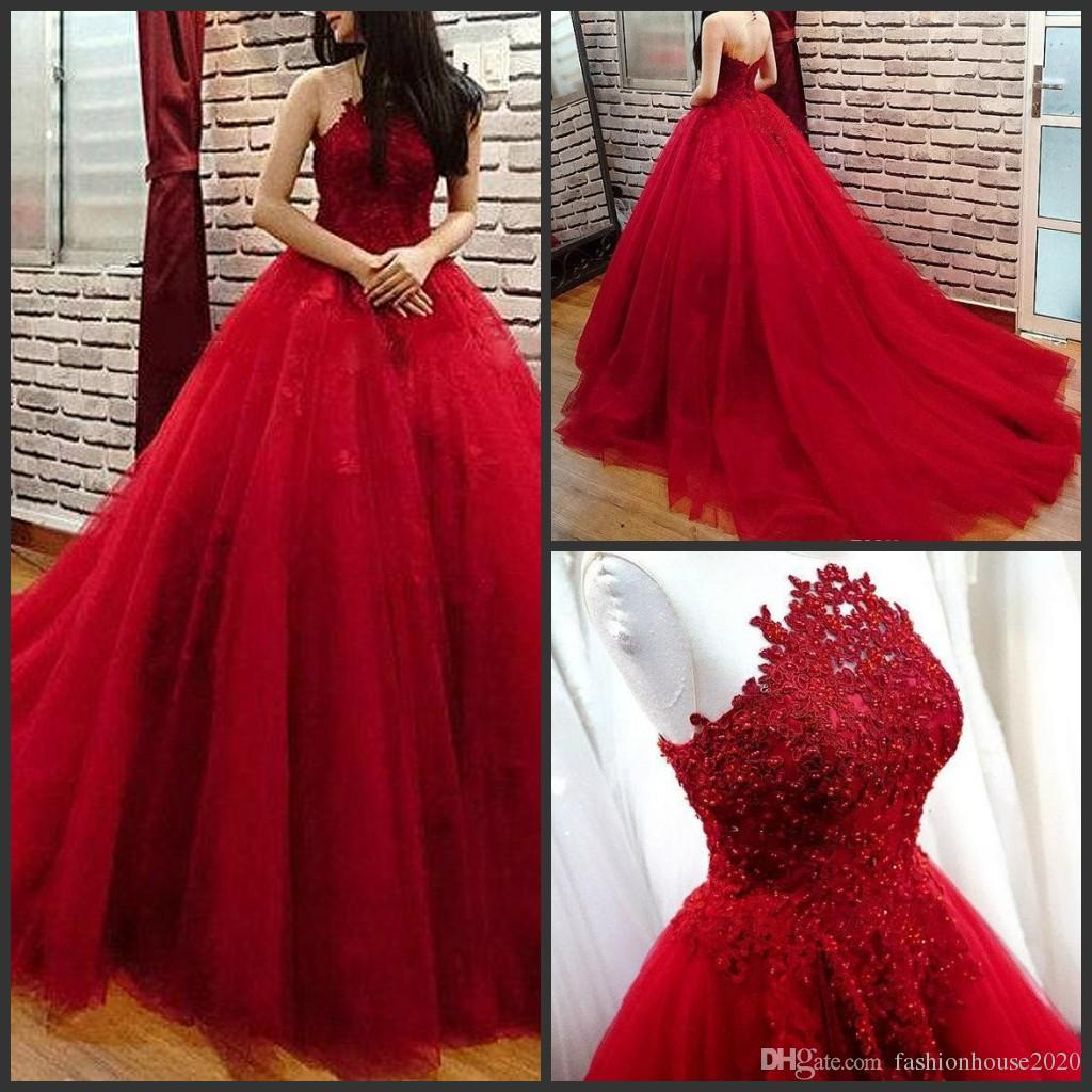 Dorable Red Lace Ball Gown Photos - Wedding and flowers ispiration ...