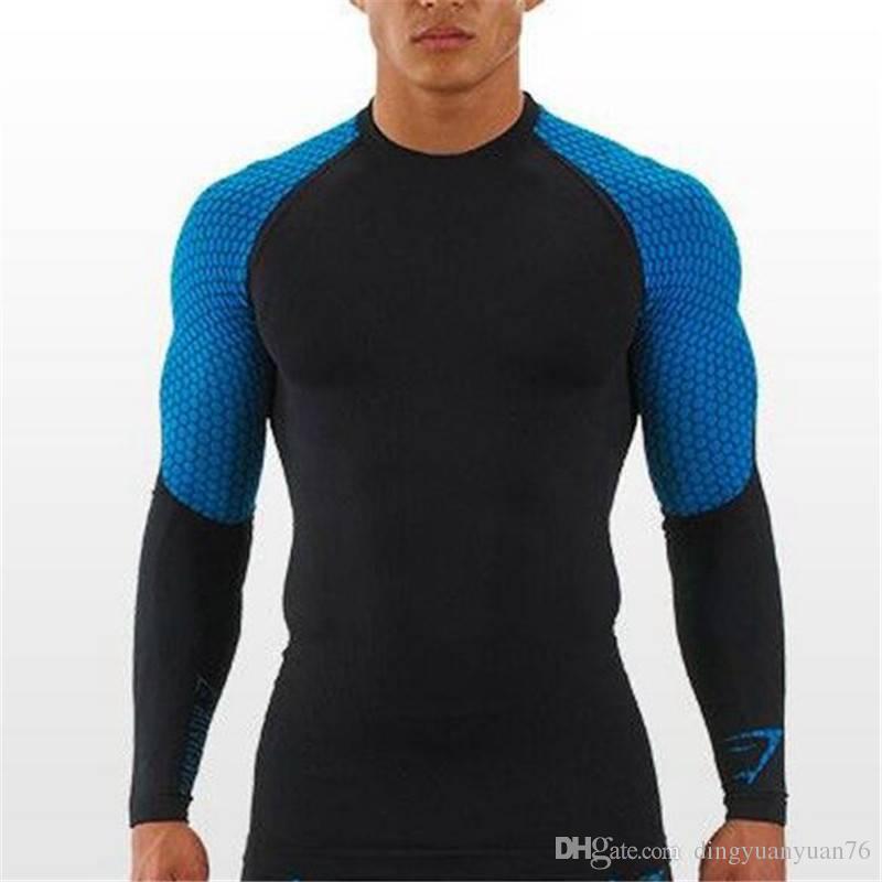 Long Sleeve T Shirt Men Gymshark Compression Sporting Tops Tee ...