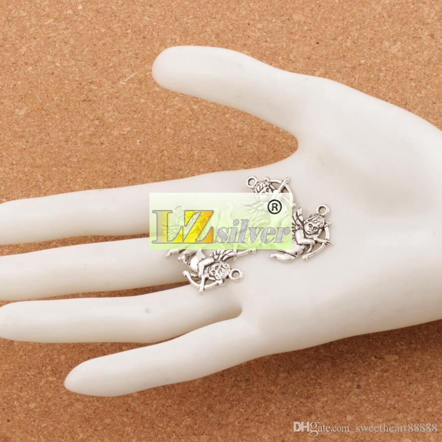 Cupid Melek Charms Kolye 100 adet / grup Antik Gümüş Takı Bulguları Bileşenleri DIY L107 22.3x15.8mm