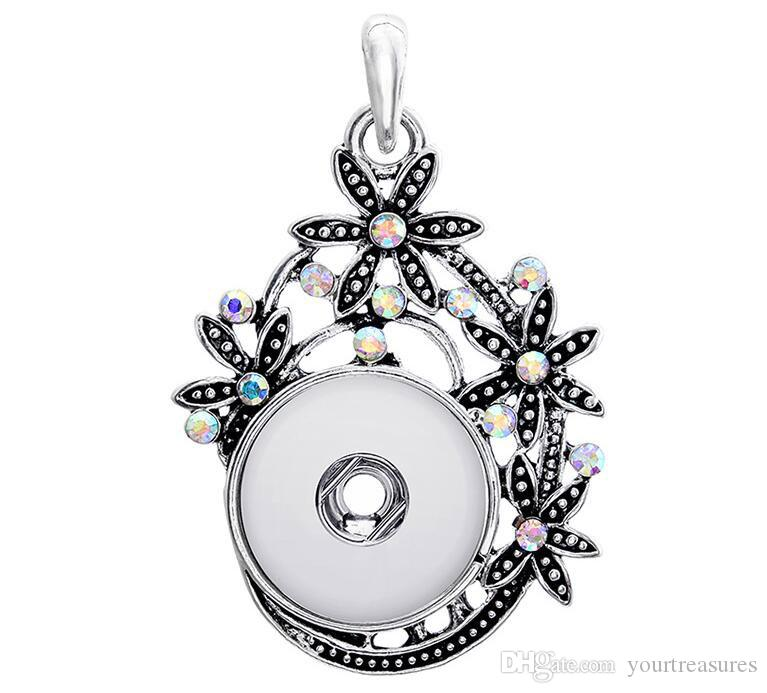 Hollow Flowers Crystal ginger snap button jewelry Crystal pendant Necklace for women's fit 18mm snaps Vintage accessories