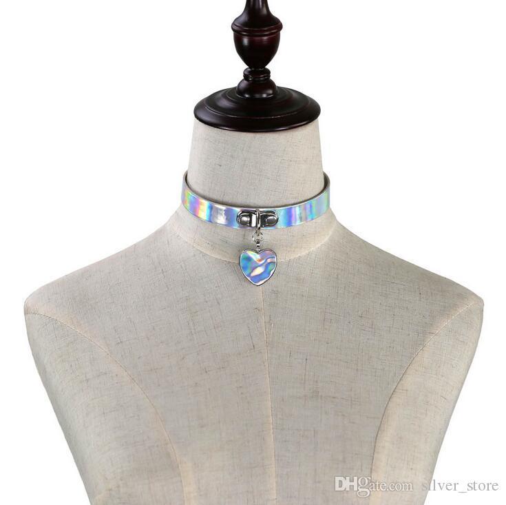 Лучший подарок мода Harajuku мягкая девушка лазерный кожаный воротник горячий персик сердце шеи с женской WFN257 с цепью смешать порядка 20 штук много
