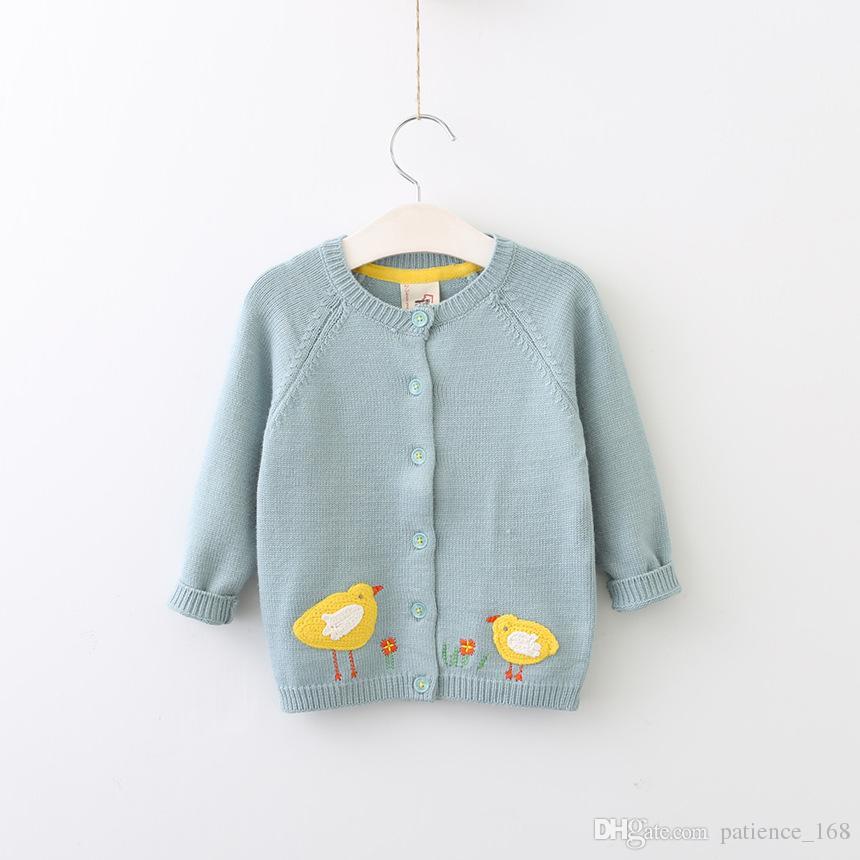Estilo de Europa y América niñas niños primavera otoño invierno cardigan suéteres de manga larga niños niñas botones de algodón pelados suéter pollito