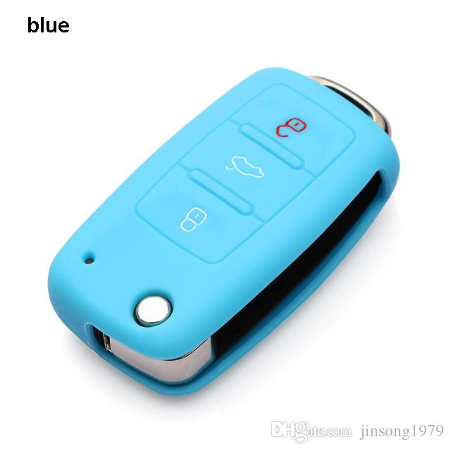 Hot selling silicone car key cover case shell fob for VW Golf Bora Jetta POLO GOLF Passat