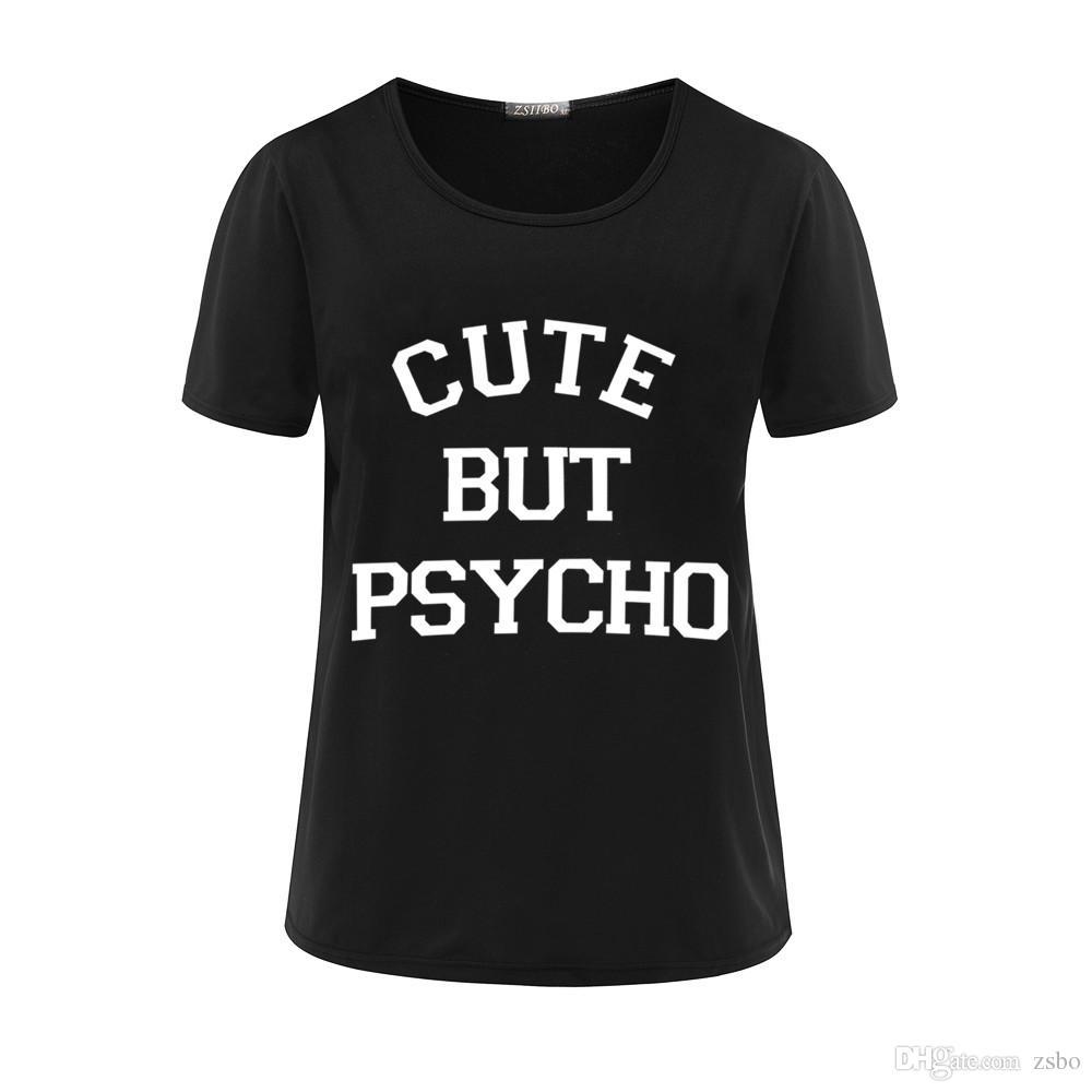 das T-Shirt der Frauen Harajuku übersteigt Punk niedlich aber psycho Brief-Druck T Shirt Femme T-Shirts Beiläufiges T-Shirt Oansatz Felsen Tumblr NV12-R3