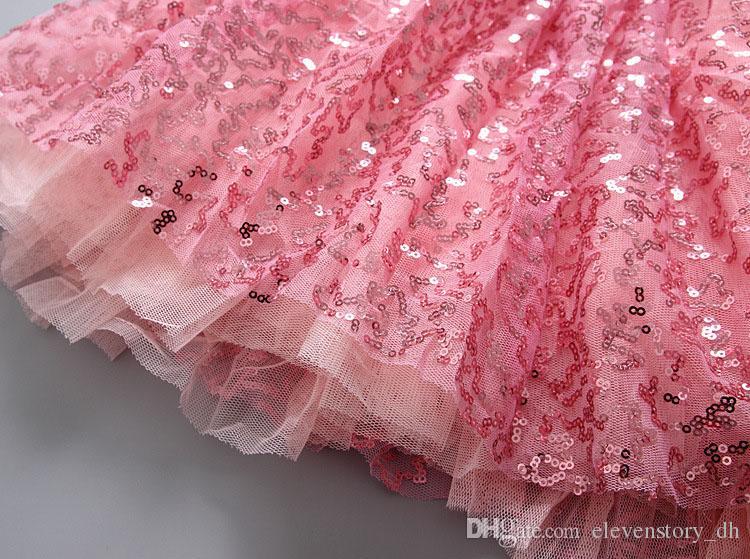 Rosa Pailletten Sets für Mädchen Sommer Tanz Kleidung Top + Rock, Baby Kinder tragen, Party Kleidung, Hochzeit tragen 5BN502SS-39