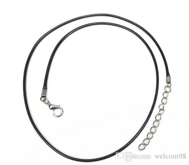 Black Wax Leder Schlange Halskette Perlenschnur Schnur Seil Draht 18 Zinchen Für DIY Schmuck 200 teile / los W9 *