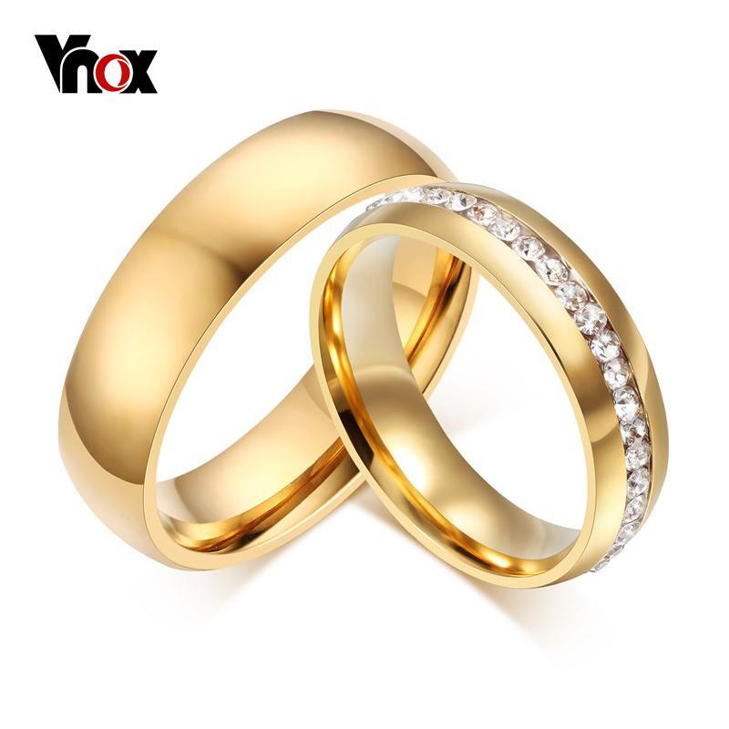 Vnox Plaqué Or Bandes De Mariage Anneau Pour Femmes Hommes Bijoux 6mm En Acier Inoxydable Bague De Fiançailles Us Taille 5 à 13