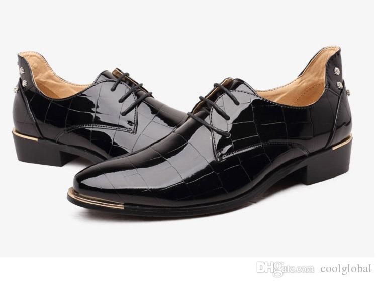Fashion Crocodile Leather Men Wedding Rivets Red Dress Shoes Black Formal Oxford Shoes Elevator Shoes Mens Creepers Chaussure Homme real cheap price CcZhoVL60r