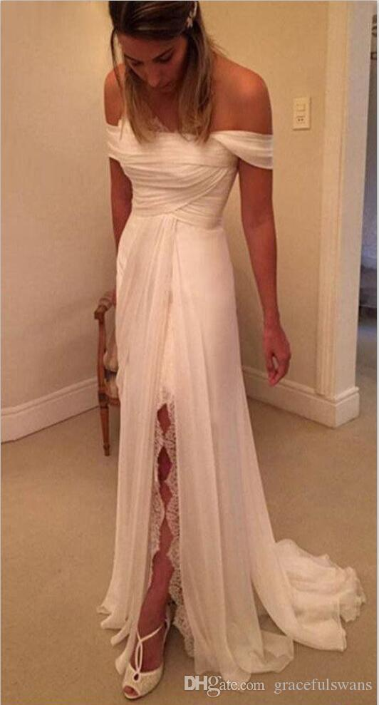 Strapless Off the Shoulder Summer Beach Wedding Dresses Sheath Chiffon Cheap Country Wedding Gowns Pleats Top Leg Slit Bohemia Bridal Dress