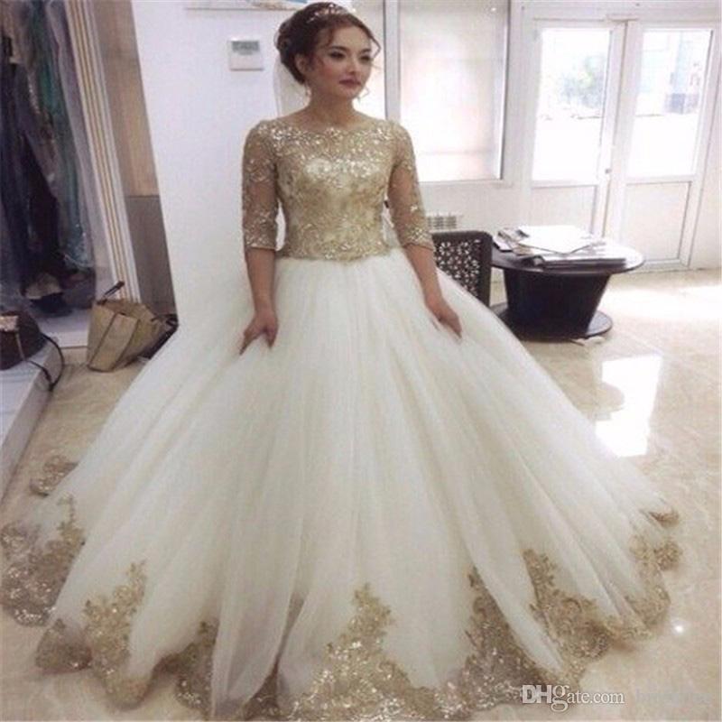 2017 Demi Manches Scoop Décolleté Robe De Bal Vintage Robes De Mariée Avec Des Appliques D'or Long Train Gilet Robes De Mariée