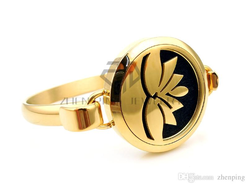 Round Silver, Gold and Rose Gold Lotus 25-30mm with Circle Band Aromatherapy / Essential Oils Diffuser Locket Bracelet Jewelry