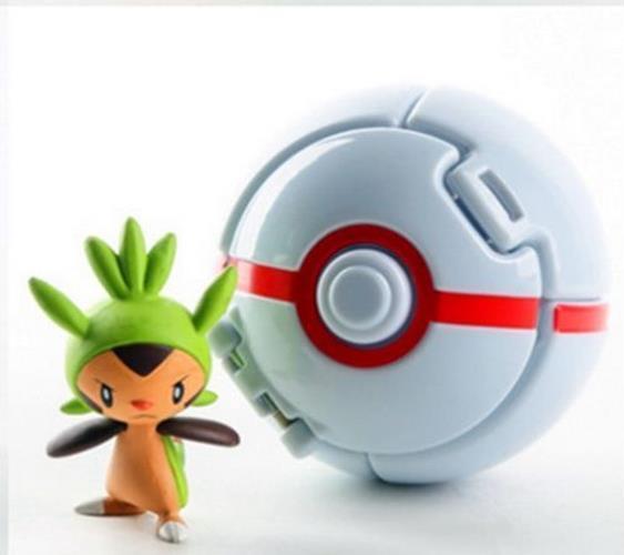 Pokeball Cosplay Elf Pikachu lanza pelota de juguete para niños Juguetes Doll Bounce Turn Opening Fas