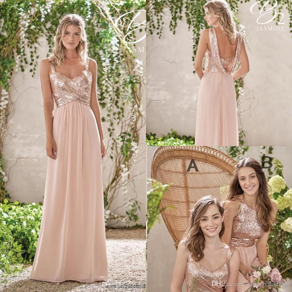 2018 Rose Gold Bridesmaid Dresses A Line Spaghetti Backless Sequins Chiffon  Cheap Long Beach Wedding Gust Dress Maid Of Honor Gowns BM0153 Plus Size ... 3f5d40b2e224