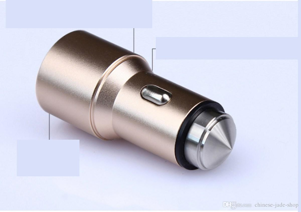 Safety Hammer Aluminum Alloy 2.4A Dual Port USB Car Charger Universal For Smart Phone