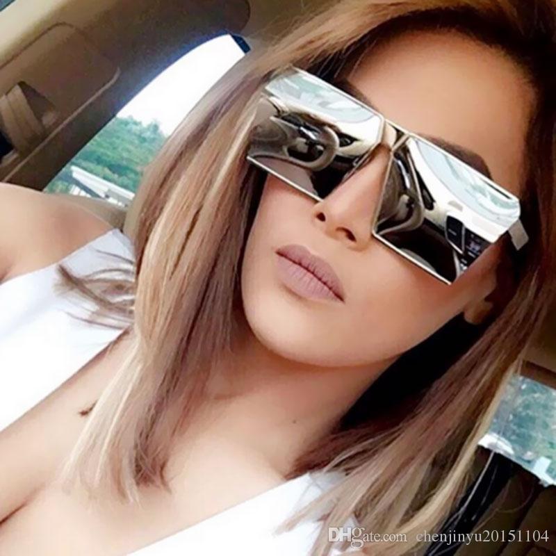 ALOZ MICC 브랜드 디자이너 여자 사각형 선글라스 A014 여성용 독특한 특대 쉴드 UV400 그라데이션 빈티지 안경 프레임
