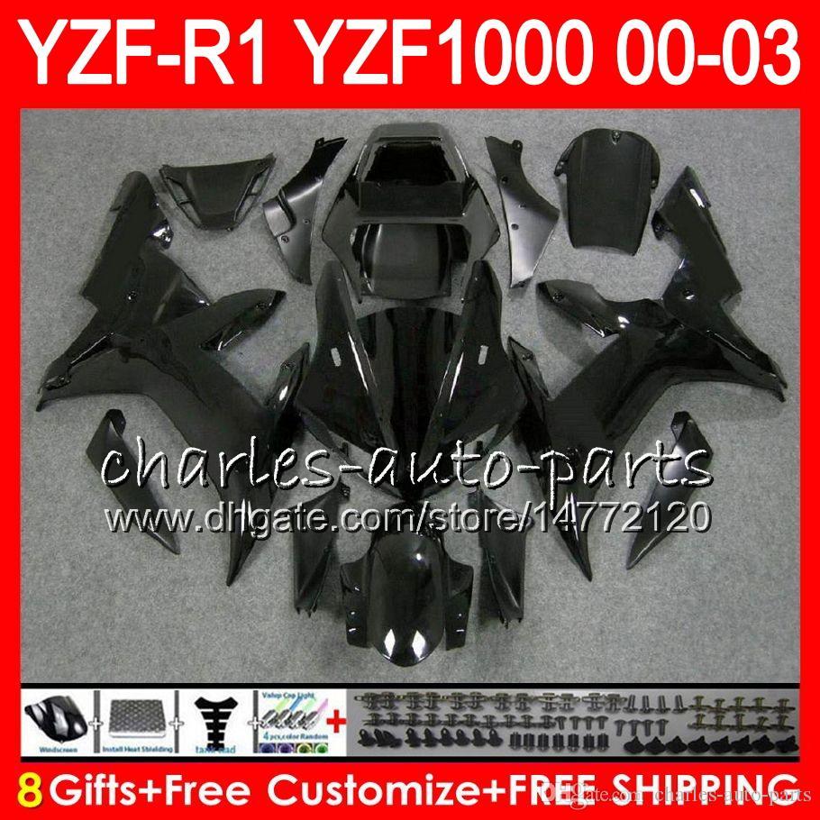 8Gift 23Clor 바디 용 Yamaha Yzf R1 Yzf 1000 Yzfr1 02 03 00 01 광택 블랙 62HM23 YZF1000 R 1 YZF-R1000 YZF-R1 2002 2003 2000 2001 페어링