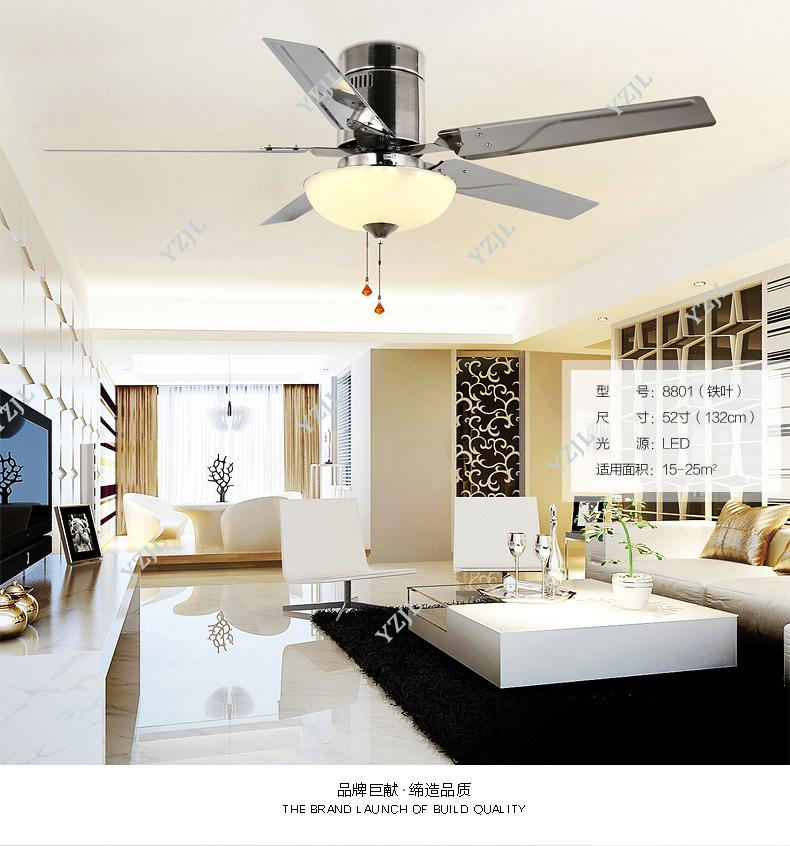 Simple stylish restaurant Fan light ceiling fan lights LED living room lamp stainless steel leaf fan remote control with lamps