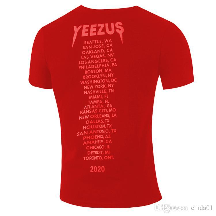 YEEZUS Yaz Tshirt Erkekler Moda Serin Kafatasları Baskılı Kısa Kollu Tees KANYYE WEST Tops Tasarımcı Tee Gömlek Giyim