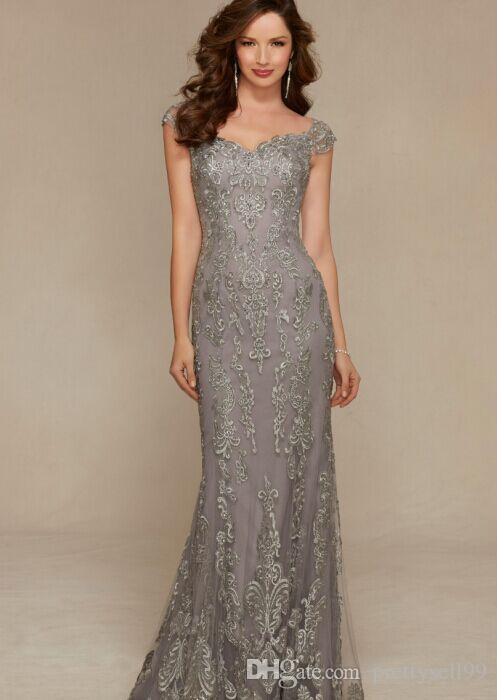2019 nouvelle dentelle appliques sirène mère de la robe de mariée robes taille plus la longueur de plancher col en V longue soirée formelle robes de soirée