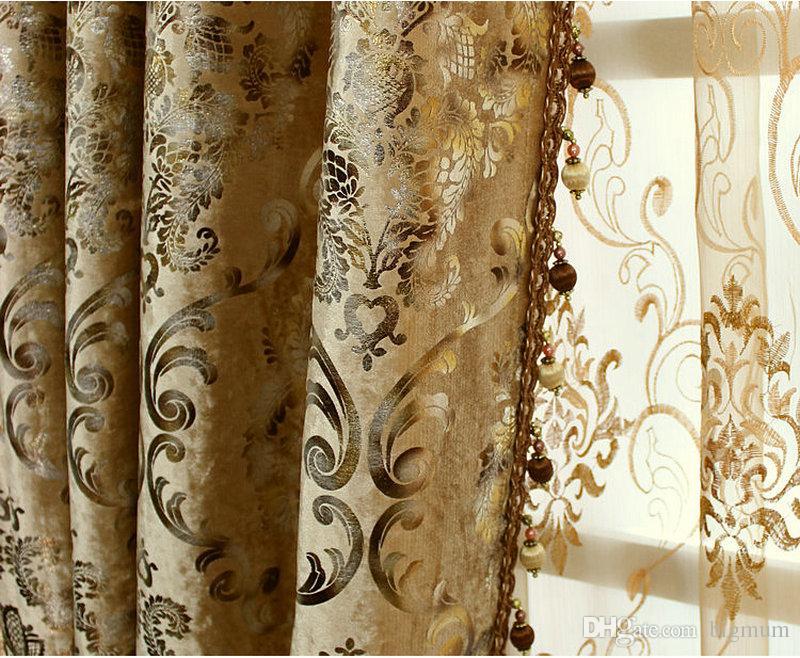 CHEGADA NOVA Europen estilo de luxo do palácio cortina com Beads para Hotel / Villa / Sala Custom-made de Ouro Marfim Dark Brown