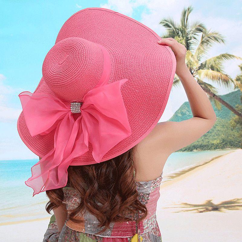 145a7e07 Wholesale- 2017 Straw Hats For Women's Female Summer Ladies Wide Brim Beach  Hats Sexy Chapeau Large Floppy Sun Caps New Brand Spring Praia