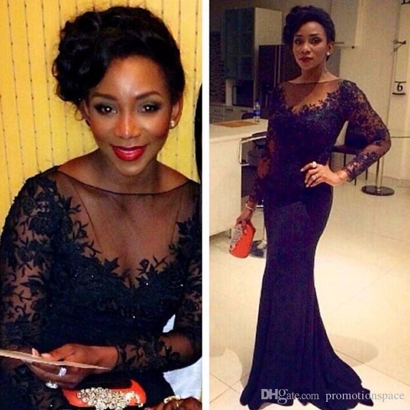 Manches longues robes de bal africaine sirène Style 2017 modeste noir filles robe de soirée O-cou pure Robes De Formatura