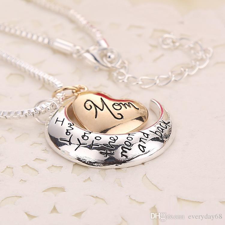 Coração Superior qualidade de jóias Eu te amo à Lua e parte traseira mãe Colar Pingente Dia das Mães presente Atacado Moda Jóias
