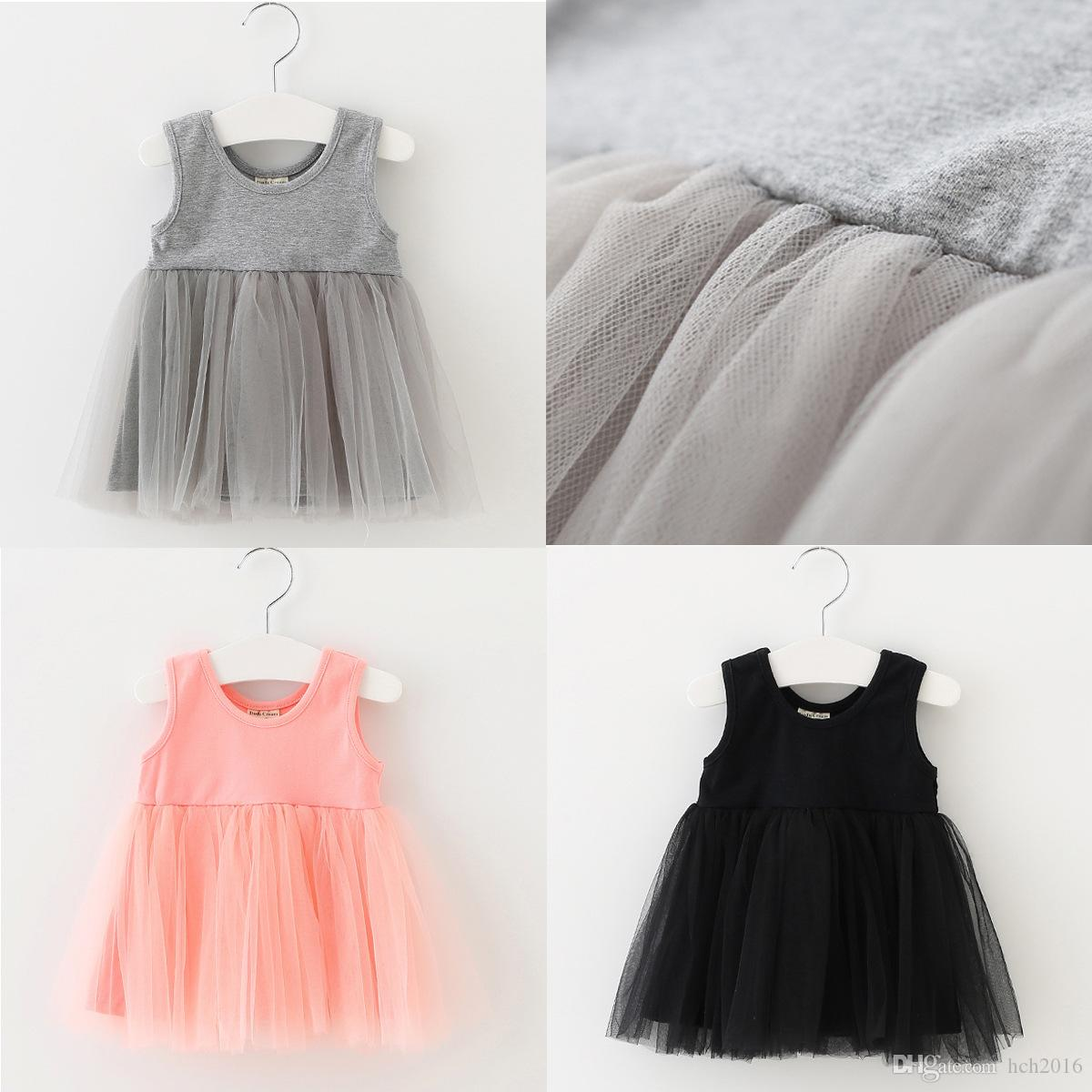 f3be9d0422bcf Baby Kids Clothing 2018 Summer vintage Flower girls dresses children Casual  Solid Cotton Ball gowns princess party dress toddler clothes #68