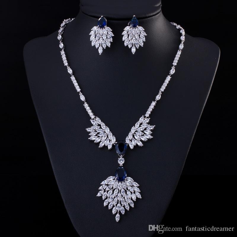 Vendita calda nuziale classica gioielli di cristallo di lusso collana lunga orecchini set di gioielli da sposa accessori di fidanzamento le donne bijoux T091