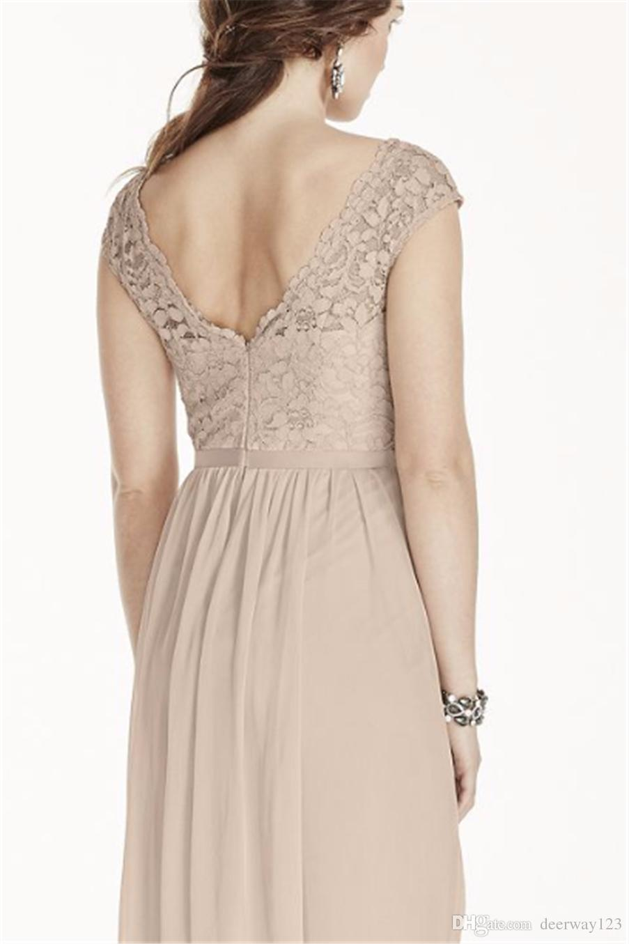 Short Lace and Chiffon Bridesmaid Dress with Illusion Neckline F17019 Knee Length Wedding Party Dress Evening Dress Formal Dresses