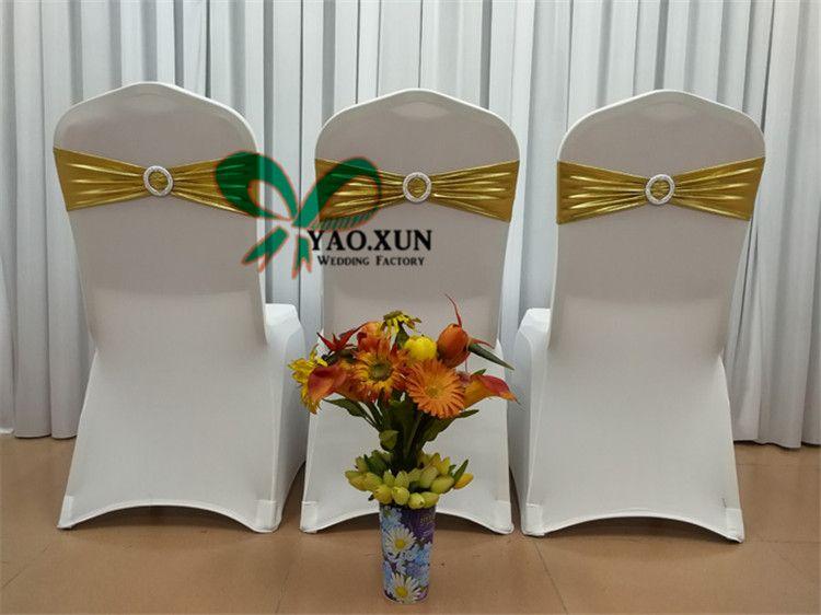 Prix de gros Bronzage Enduit Strech Chaise Sash \ Lycra Spandex Chaise Band Pour Mariage Chaise Couverture