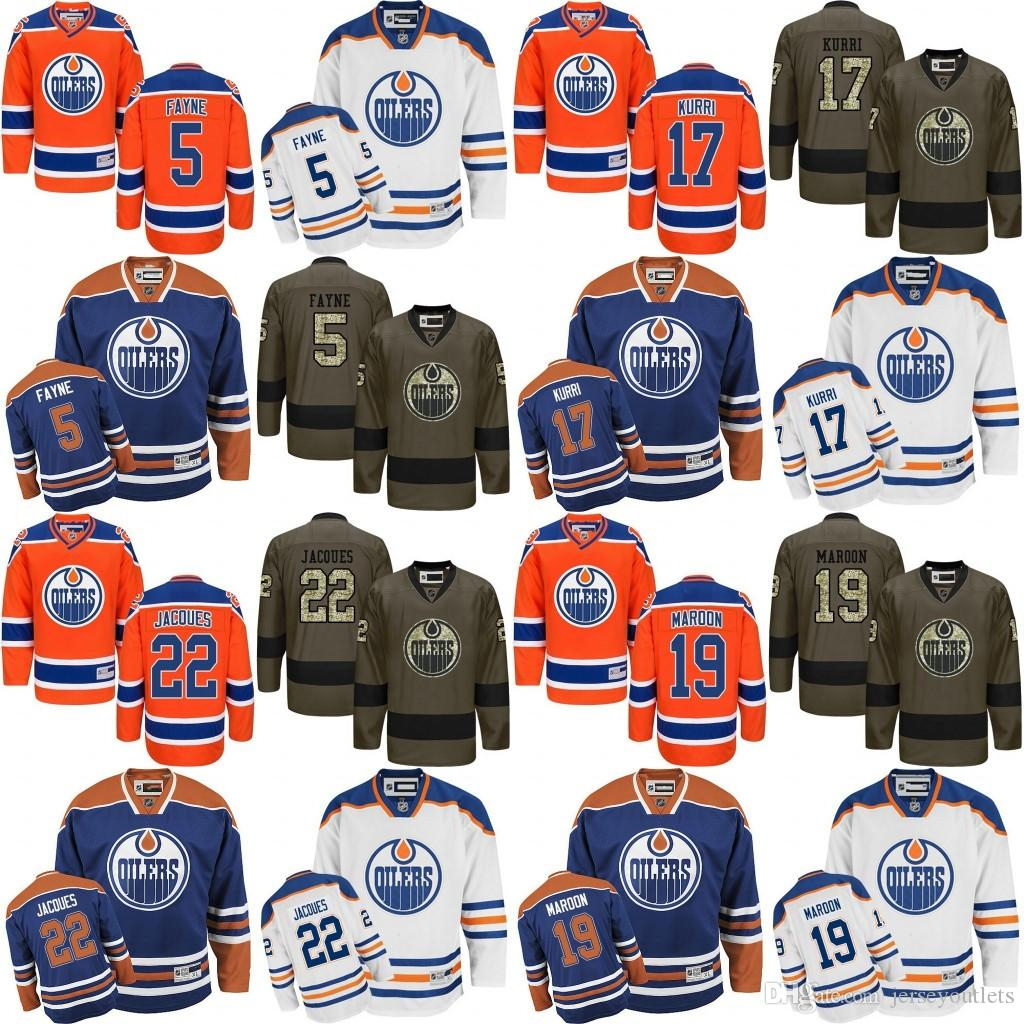4887bab5e 2019 2017 New 17 Jari Kurri 19 Patrick Maroon 5 Mark Fayne 22 Jacoues  Edmonton Oilers NHL Ice Hockey Third Mens Premier Stitched Jerseys From  Jerseyoutlets