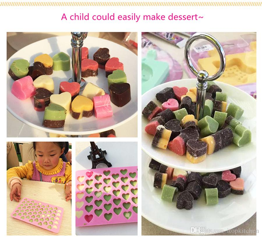 55 blocks love heart Chocolate Mold Ice Cubes Maker Ice tray Jelly Pudding Maker Baking molds Valentine's Gift Kitchen accessories