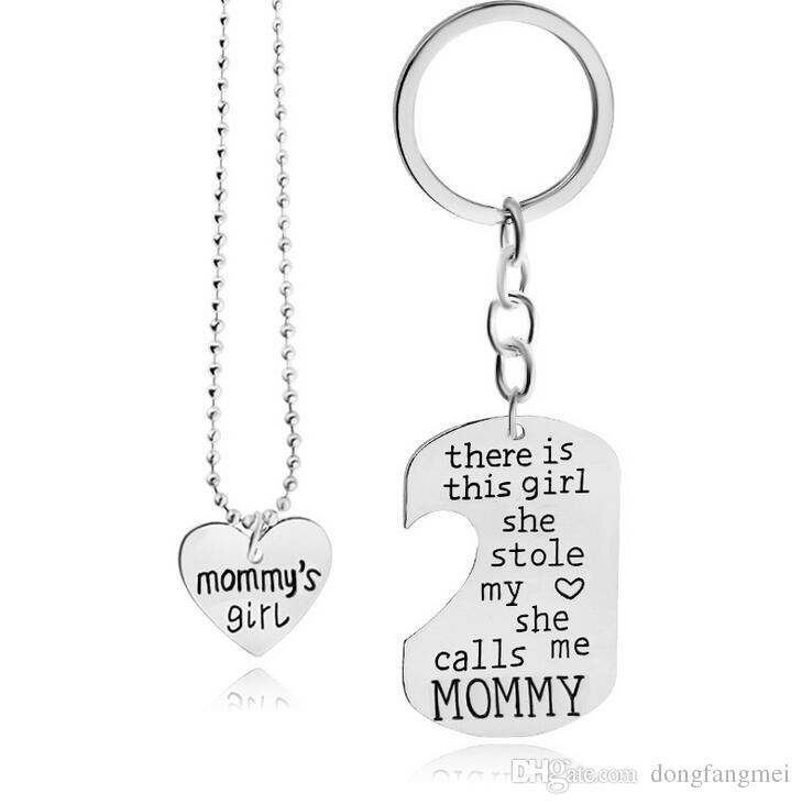 Electroplated Colors Mother 's Day Alloy Mommy & daddy Love Necklace Family Series Pendant WFN431 with chain 20 =