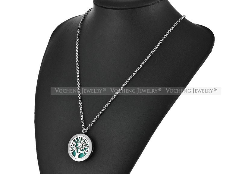 Духи Аромат диффузор медальон 30 мм ожерелье Дерево Жизни кулон из нержавеющей стали 316L магнитные духи медальон без войлок колодки VA-256