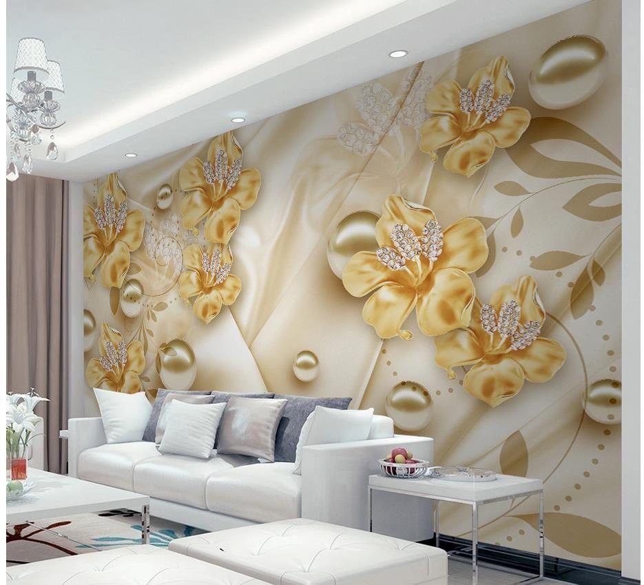 Compre J Ias Flores 3d Est Tica Tv Parede De Parede Mural 3d Papel  -> Adesivo De Parede Estetica