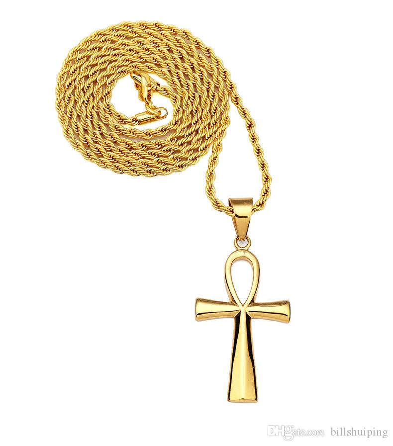 Men's Classic Stainless Steel Mens Chains Silver Gold Plated Vintage Latin Christian Cross Pendants Necklaces