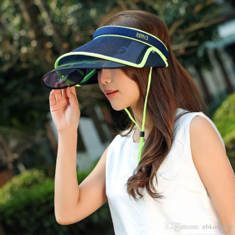 Women Chic Clip-On Retractable Visor Sun Hat Summer Wide Brim Cap UV Protection Outdoor Hat Adjustable size