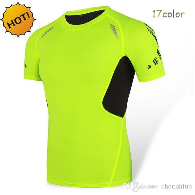 NEW 2017 Summer Elastic Tight Bodybuilding Fitness Base Layer Thermal Muscle Compression Short Sleeve Top T Shirt Men 17 Color