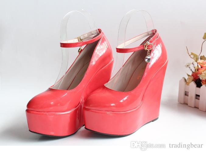 Anpassa brudbröllopskor 5,5 cm Hög plattform kilar Heel Shoes Storlek 30 till 43