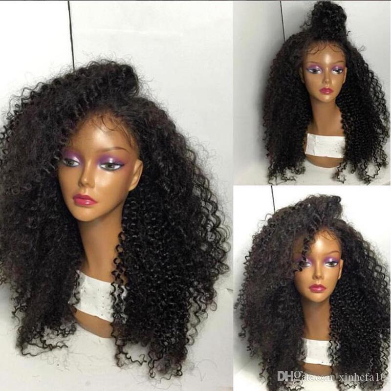 Middle Part Kinky Curly Full Lace Wig Unprocessed Human Hair Lace Front Wigs Brazilian Kinky Afro Wigs Black Women With Baby Hair