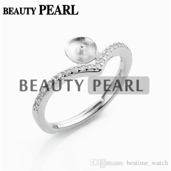 HOPEARL Descobertas jóias anel de pérola 925 prata esterlina zircão DIY Fazendo Blanks anel de base