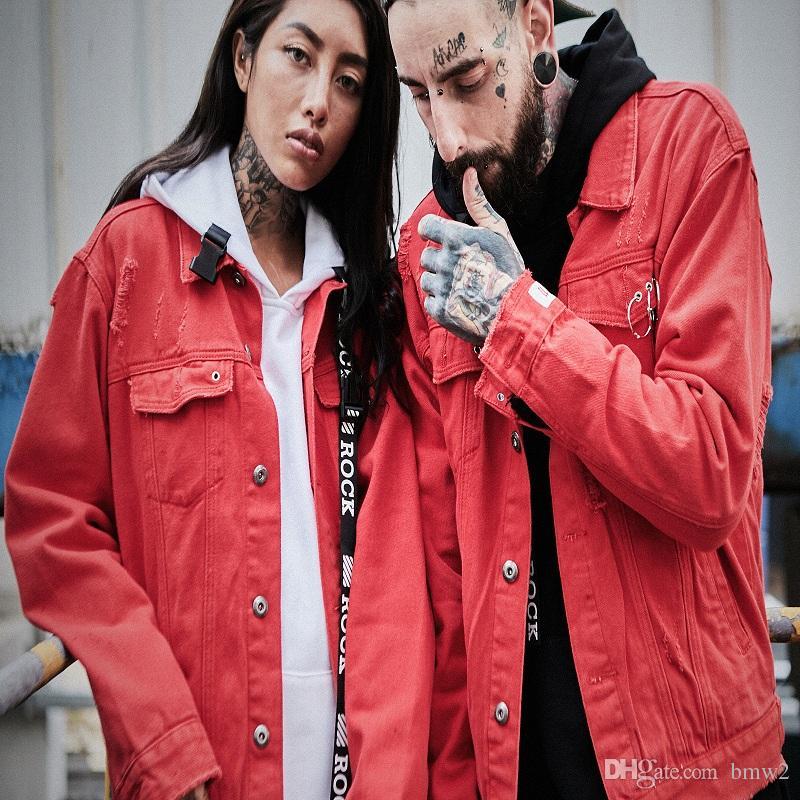 Top Quality Harajuku Red Denim Jackets Couple Slim Fit 2017 Men