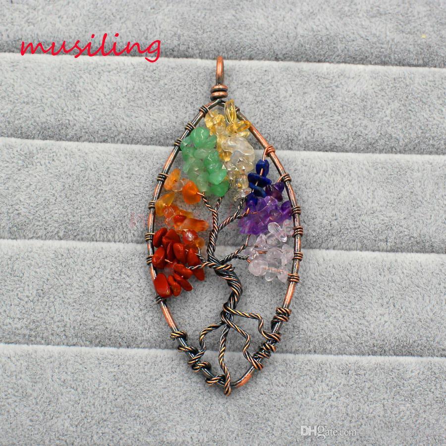 Ciondoli albero di vita in pietra naturale Rame placcato placcato d'oro Reiki Charms Abbigliamento Accessori Amuleto europeo Moda Donna Uomo gioielli