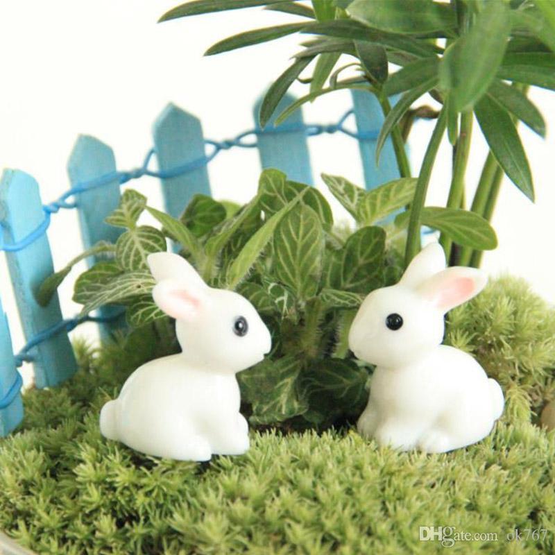 الجنية حديقة مصغرة أرنب أرنب أبيض اللون الاصطناعي مصغرة الأرانب الديكورات الراتنج الحرف بونساي الديكورات