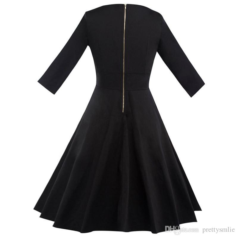 Audrey Hepburn 1950's 3/4 das mulheres Outono Com Decote Em V Sólida Preto Do Vintage Rockabilly Stretchy Elegante Festa À Noite Swing Vestido
