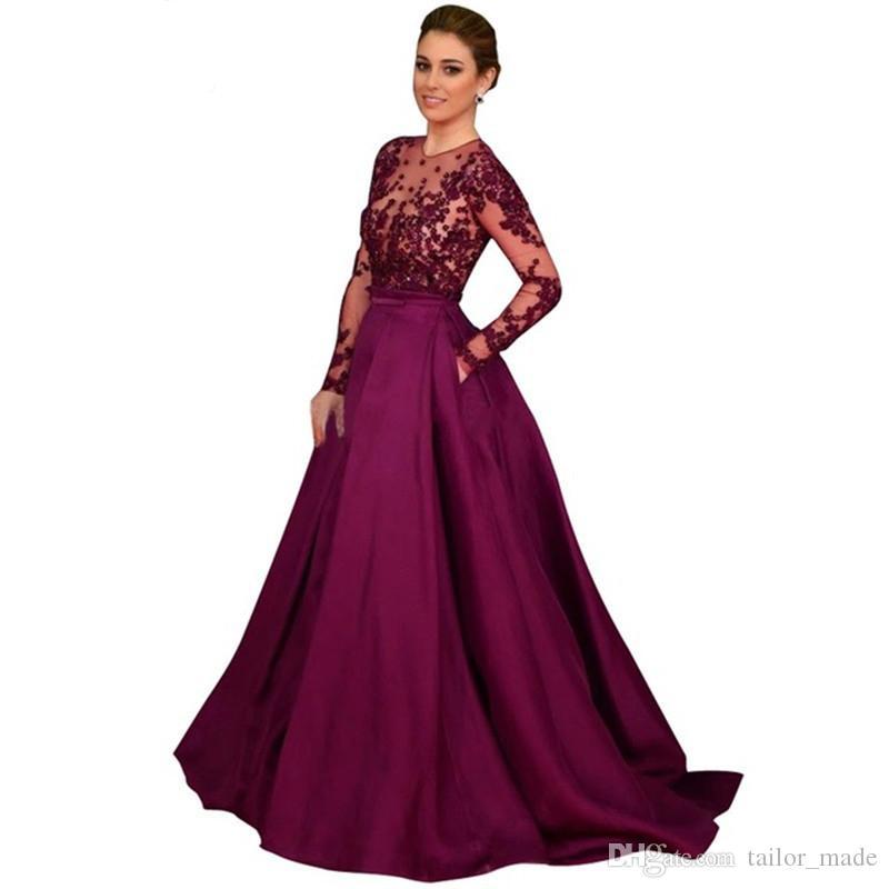 Robes de soirée musulmanes à manches longues élégante 2019 pas cher une ligne robe de bal pourpre fabriqué en Chine