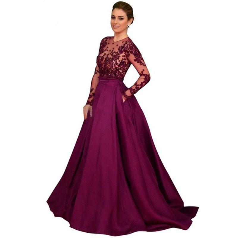 7aa1ad522 Compre Vestido De Noche Musulmán De Manga Larga De Vestidos Elegantes 2018  Vestido De Noche De Línea Púrpura Barato Hecho En China A  135.68 Del  Tailor made ...