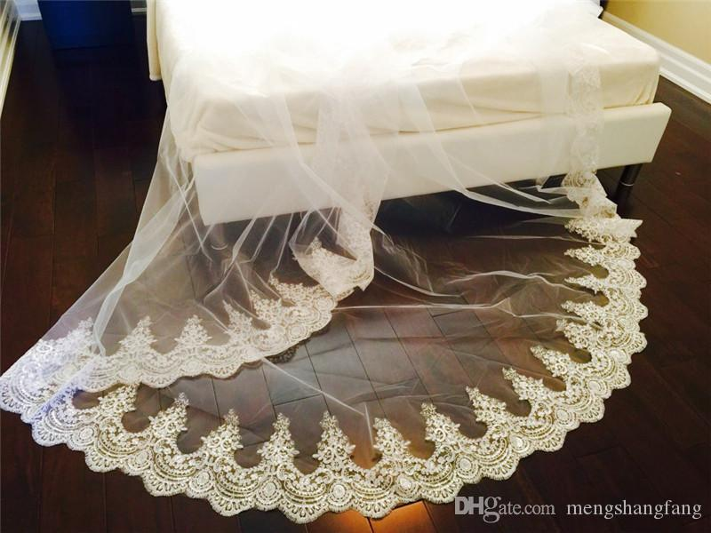 New Arrival One Layer Lace Edge Long Wedding Veil 3 Meters White Ivory Bridal Veil with Comb Bridal Accessories